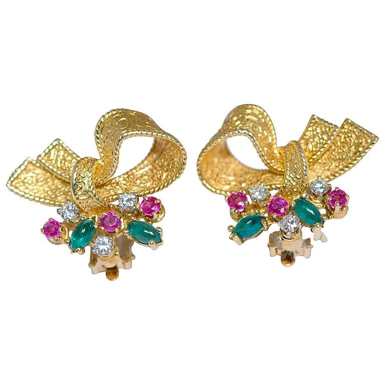 Ruby Emerald Diamond Gold Ribbon Earrings