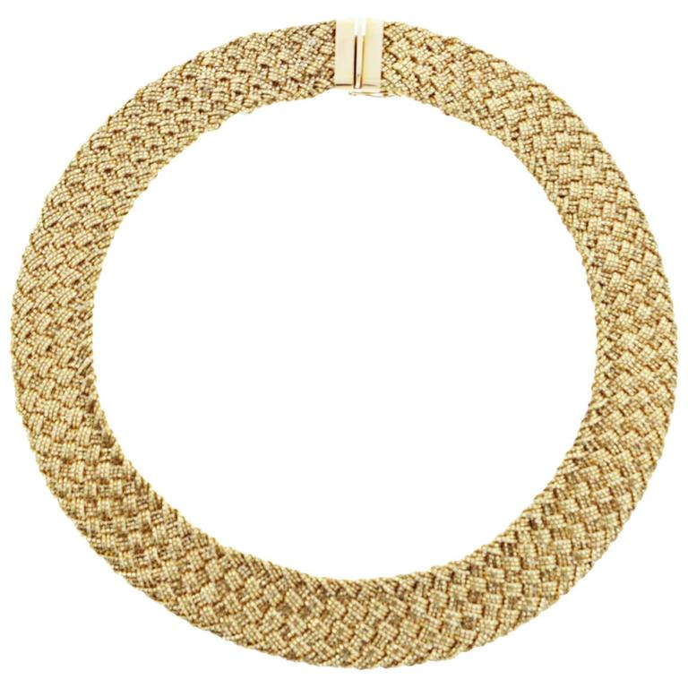 Sparkling and Shimmering YURI ICHIHASHI Woven Link Choker Necklace