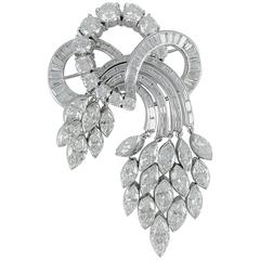 1950s Dramatic Diamond Platinum Brooch