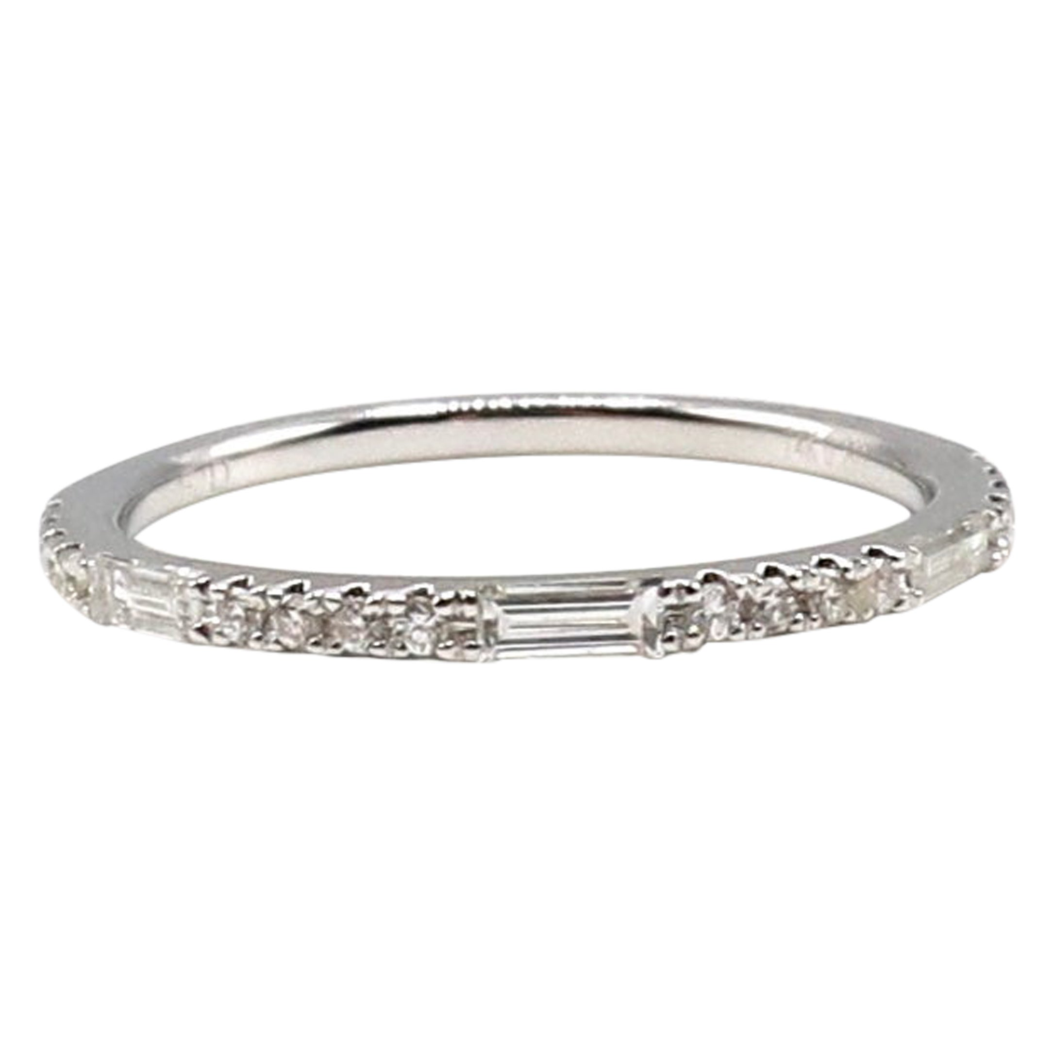 14 Karat White Gold Round and Baguette Diamond Wedding Band Stackable Ring