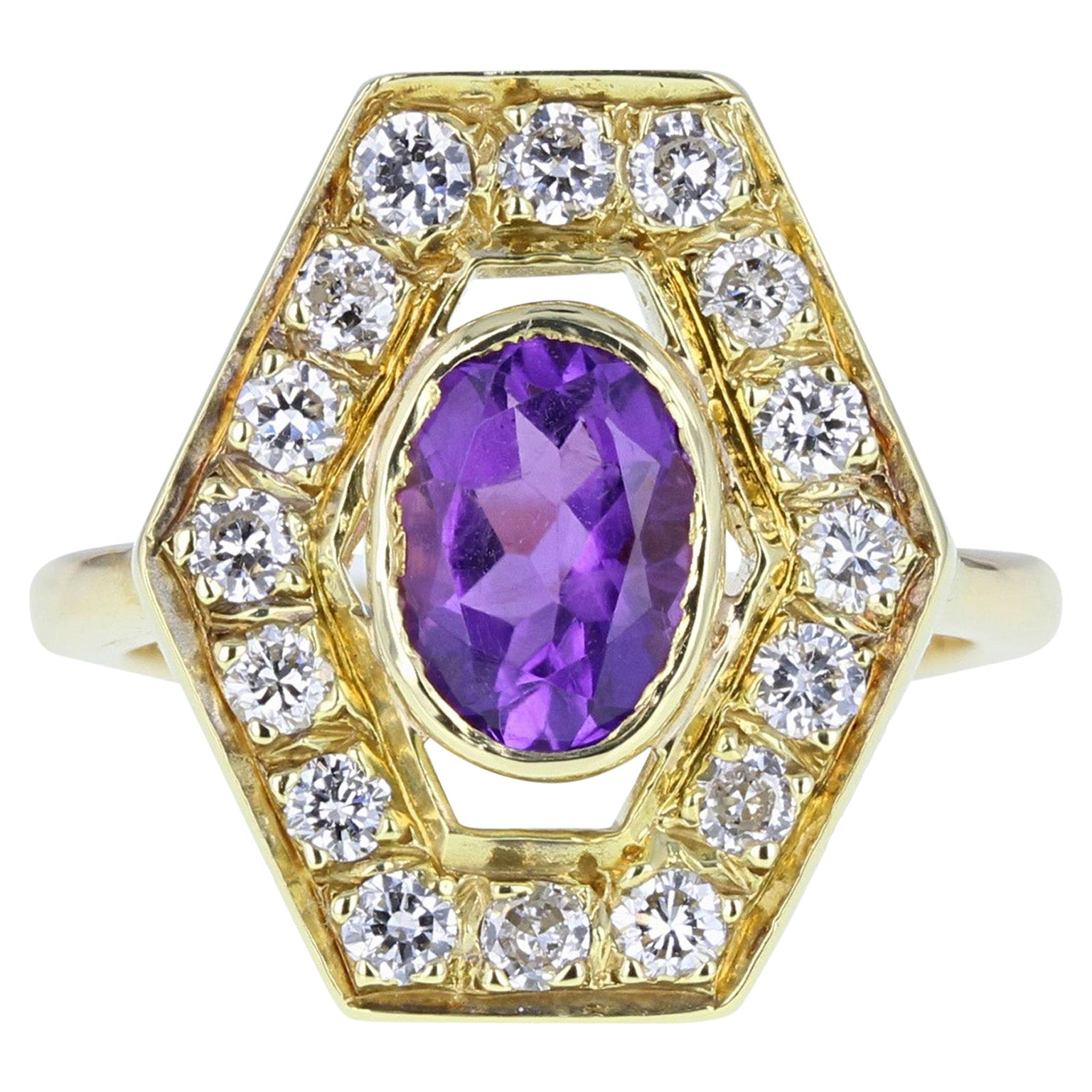 18 Carat Gold Amethyst Diamond Fancy Cluster Cocktail Ring