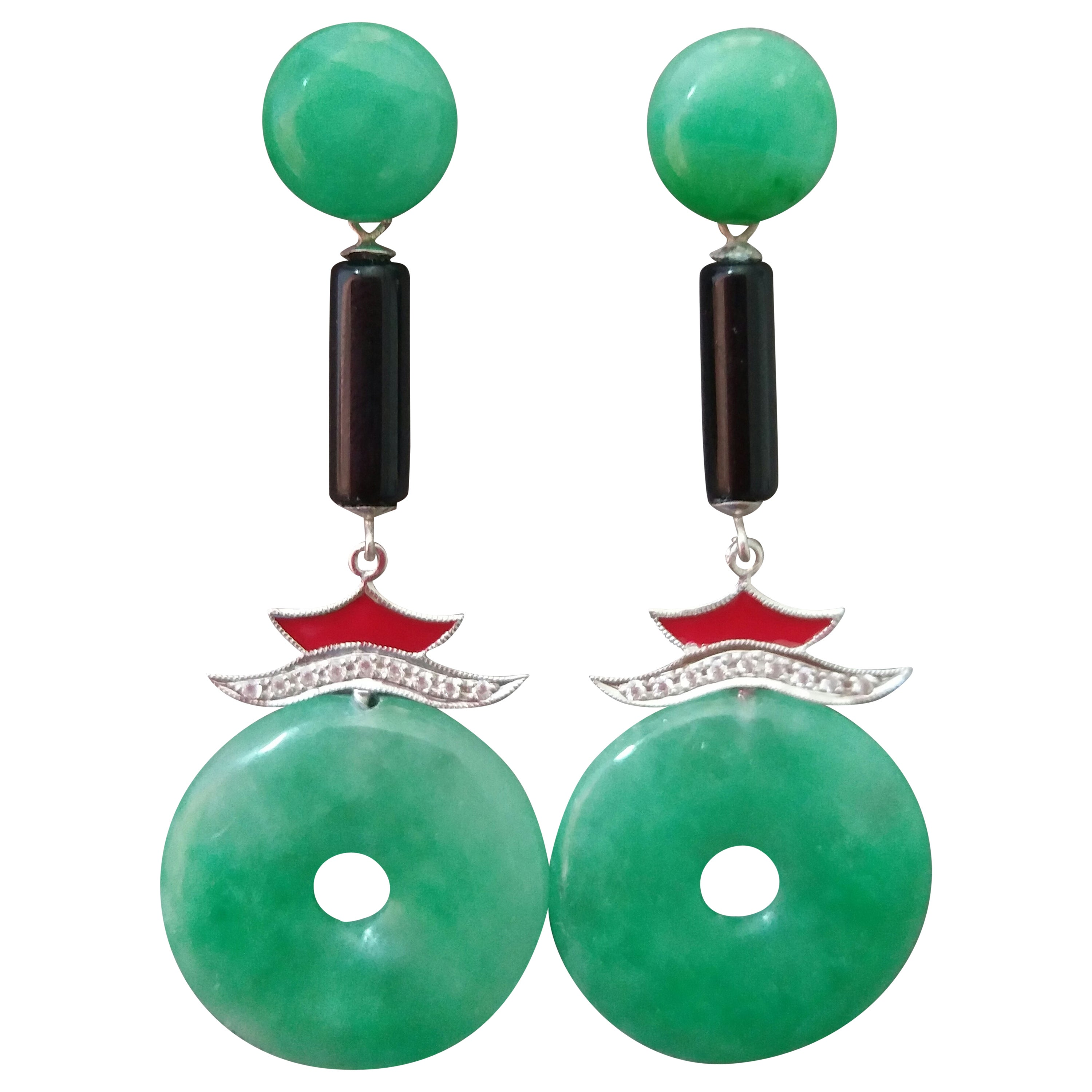Art Deco Style Jade Gold Diamonds Black Onyx Red Enamel Dangle Earrings
