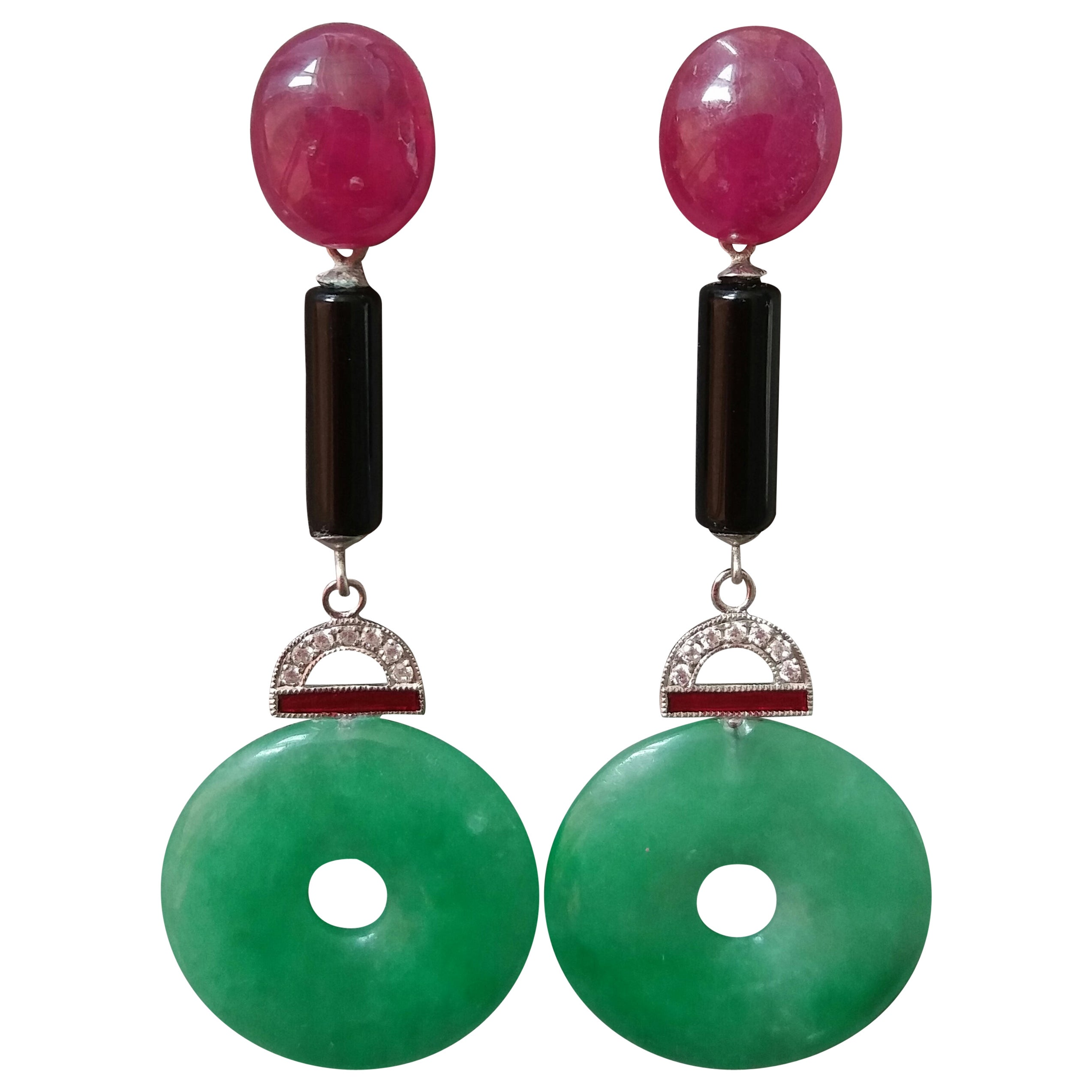 Art Deco Style Jade Ruby Gold Diamonds Black Onyx Red Enamel Dangle Earrings
