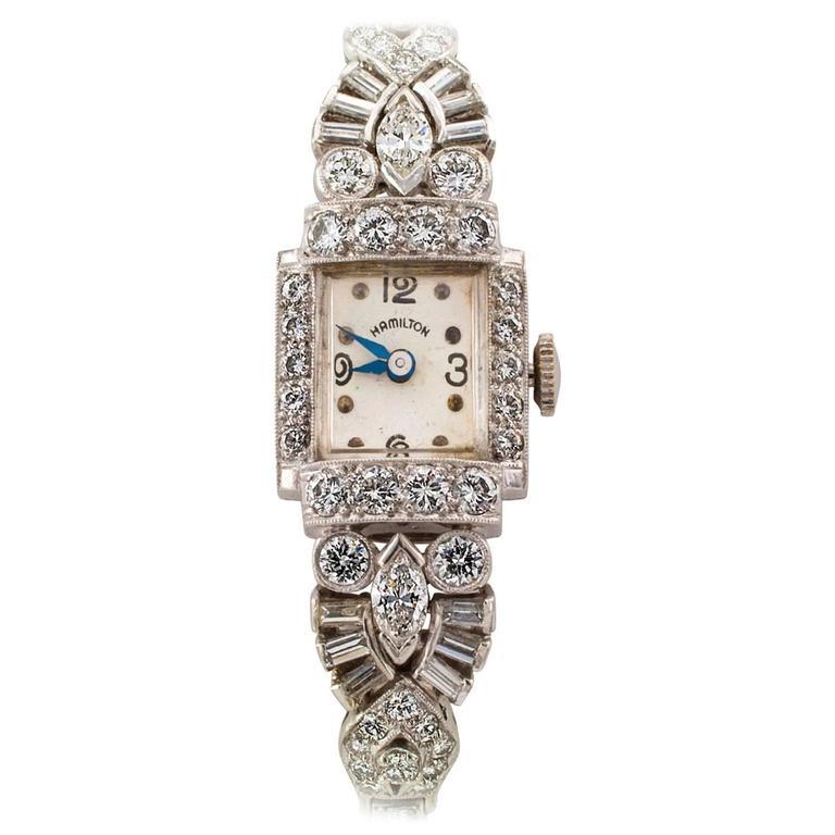 Hamilton Lady's Platinum Diamond Wristwatch