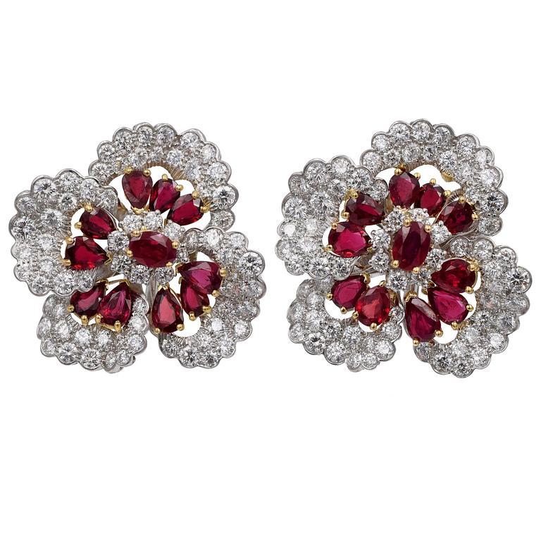 Oscar Heyman Large Ruby Diamond Gold Ear Clips