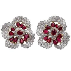 Oscar Heyman Large Ruby Diamond Gold Ear Clips
