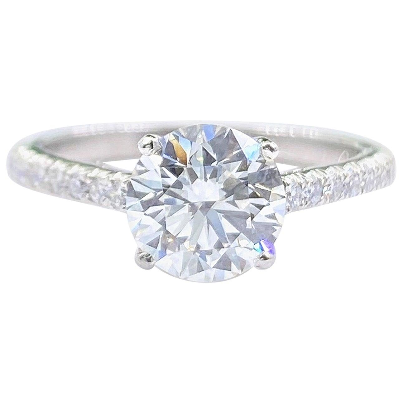 Tiffany & Co NOVO 1.62 Carat E VS1 Round Diamond Engagement Ring
