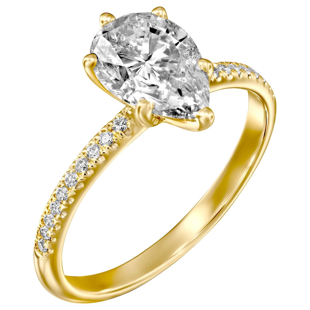 1.50 Carat GIA Pear Diamond Engagement Ring, Drop Shape Solitaire Diamond Ring