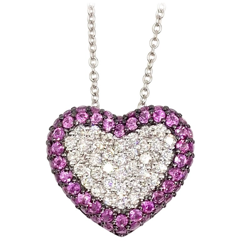 White Gold Diamond and Pink Sapphire Heart Pendant Necklace