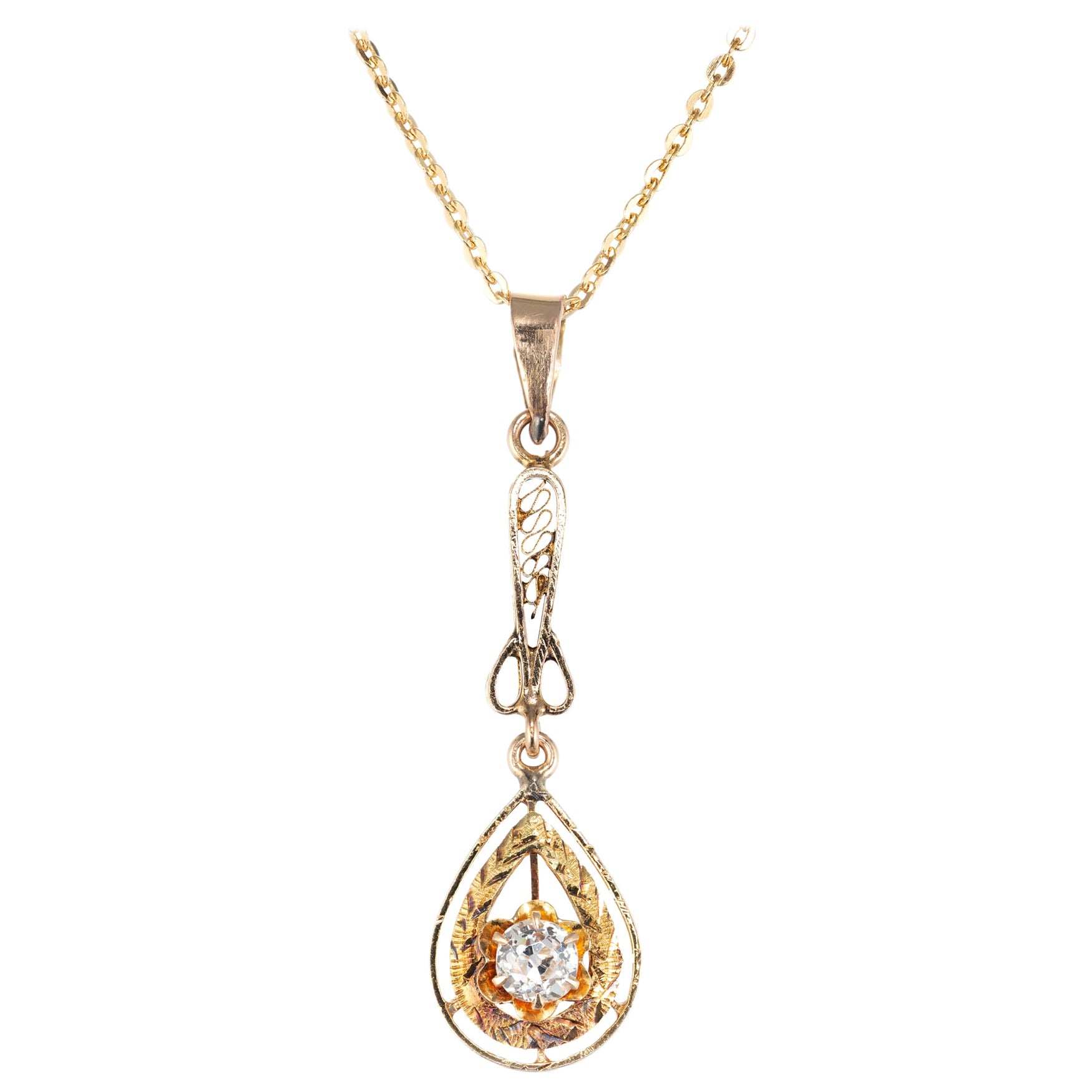 .20 Carat Diamond Yellow Gold Victorian Pendant Necklace