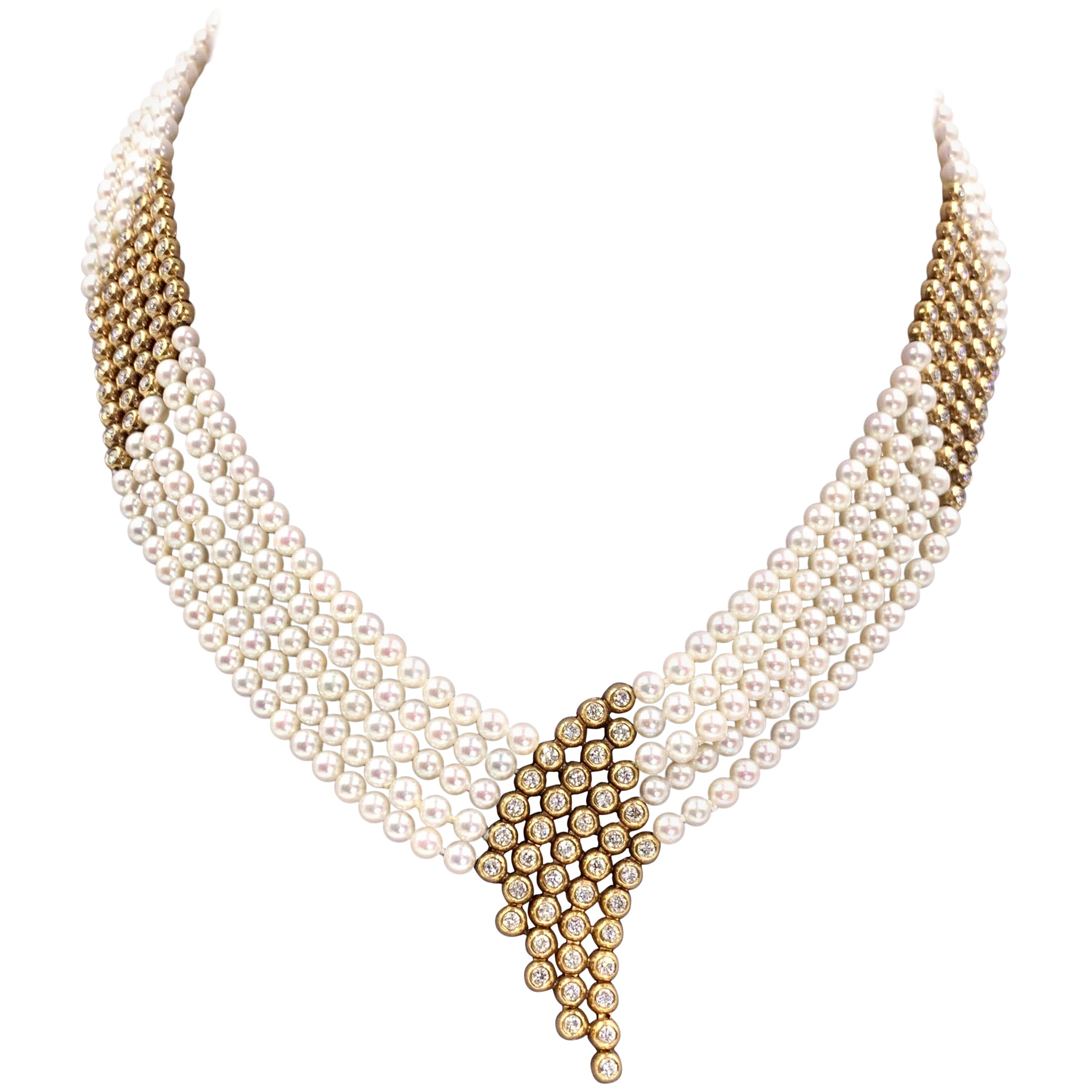 Yellow Gold Diamond and Pearl Multi-Strand Necklace