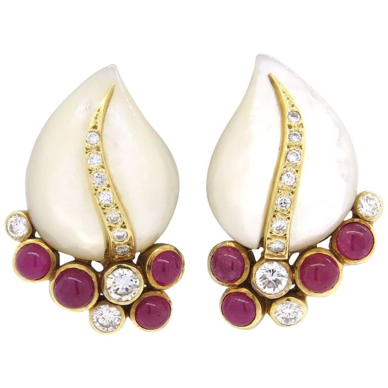 ruby of pearl gold earrings at 1stdibs