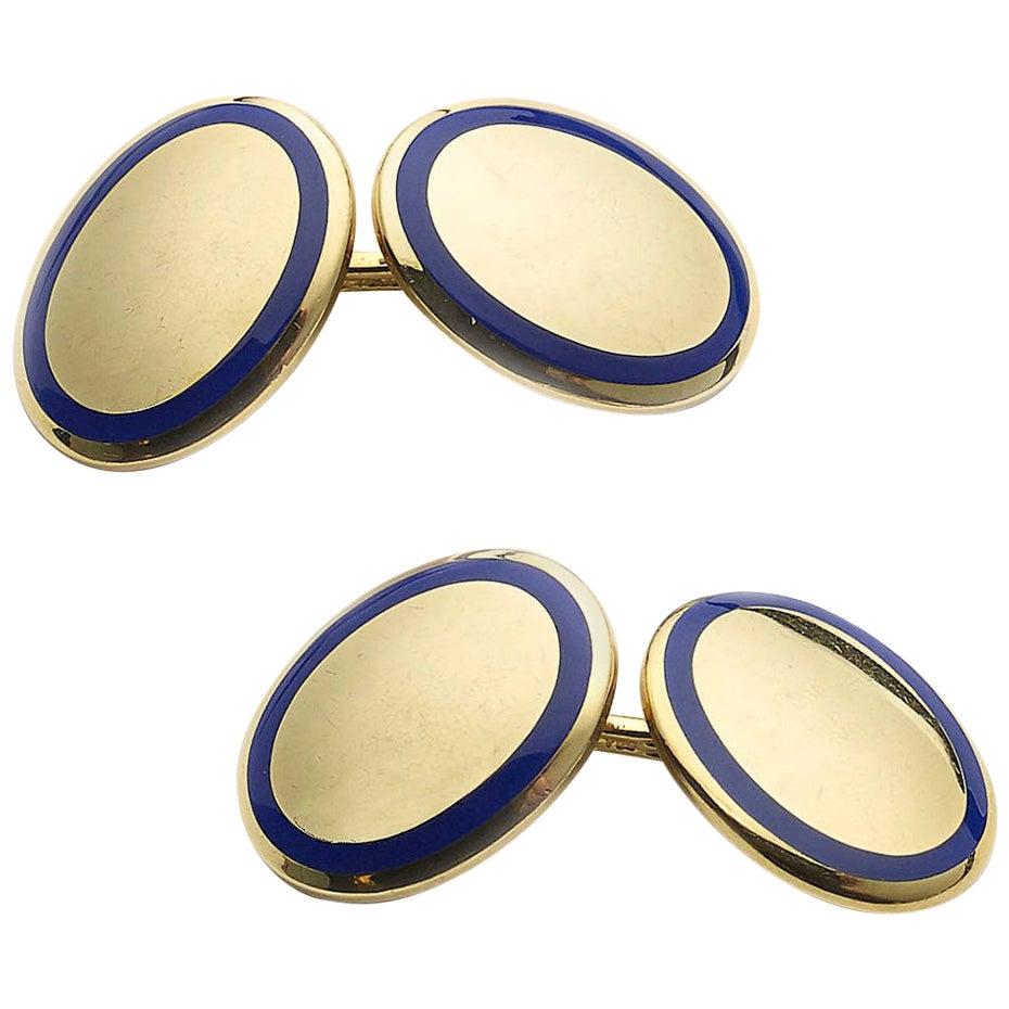 Tiffany & Co. Gold and Enamel Cufflinks
