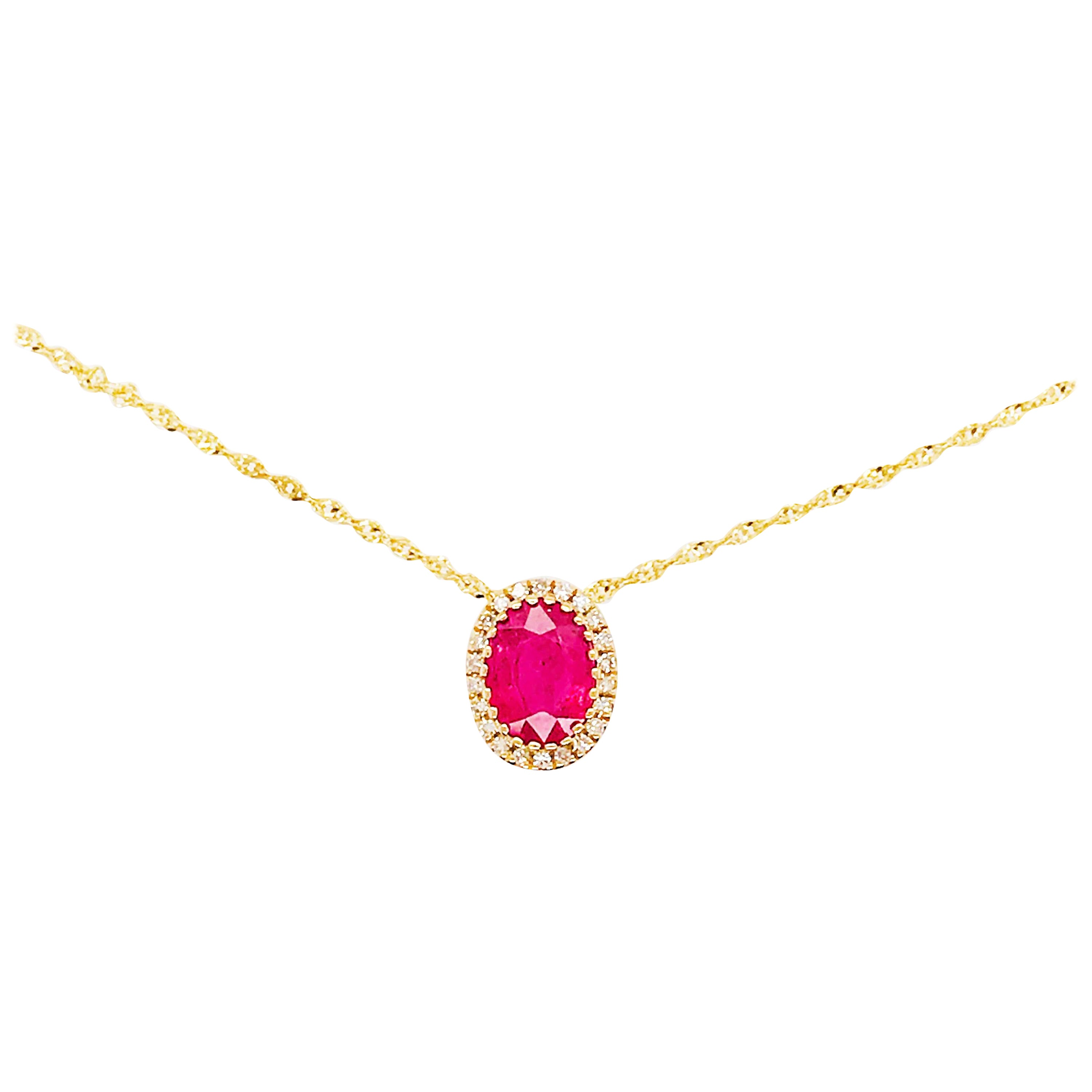 Ruby and Diamond Halo Pendant and Chain in 14 Karat Gold, Ruby July Necklace