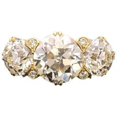 Hancocks Old European-Cut Diamond Three Stone Gold Ring