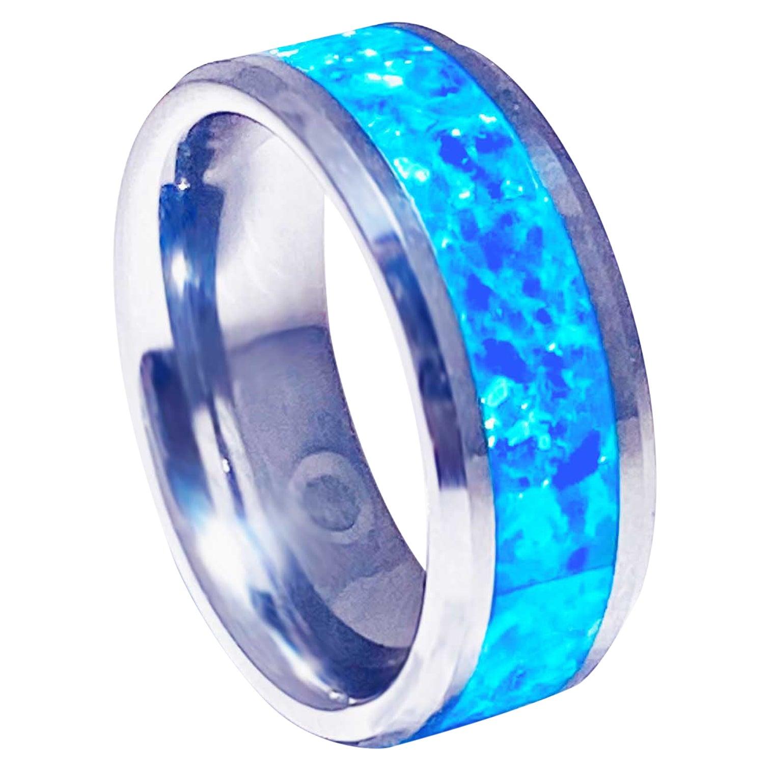 Blue Opal Inlay Tungsten Steel Men's Band, Genuine Opal Ring Wide Wedding