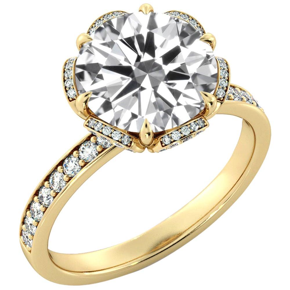 2.50 Carat GIA Round Diamond Engagement Ring, 18 Karat Yellow Gold Floral Ring