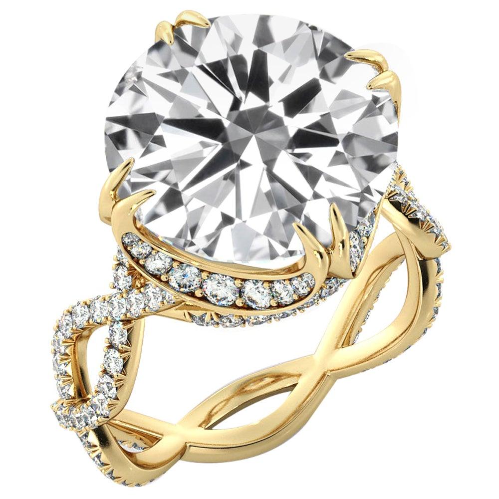 5 Carat GIA Round Cut Diamond Ring, 18 Karat Yellow Gold Ring