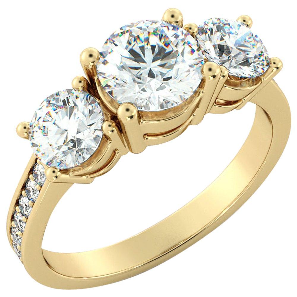 3 Carat GIA Engagement Ring, 3 -Stone Round Cut Diamond Ring