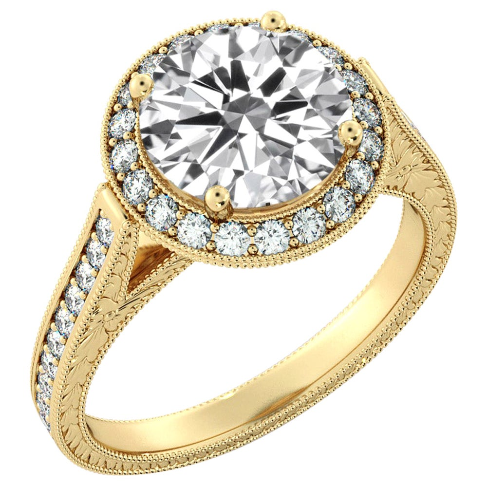 2 3/4 Carat GIA Diamond Engagement Ring, Round Diamond Halo Ring