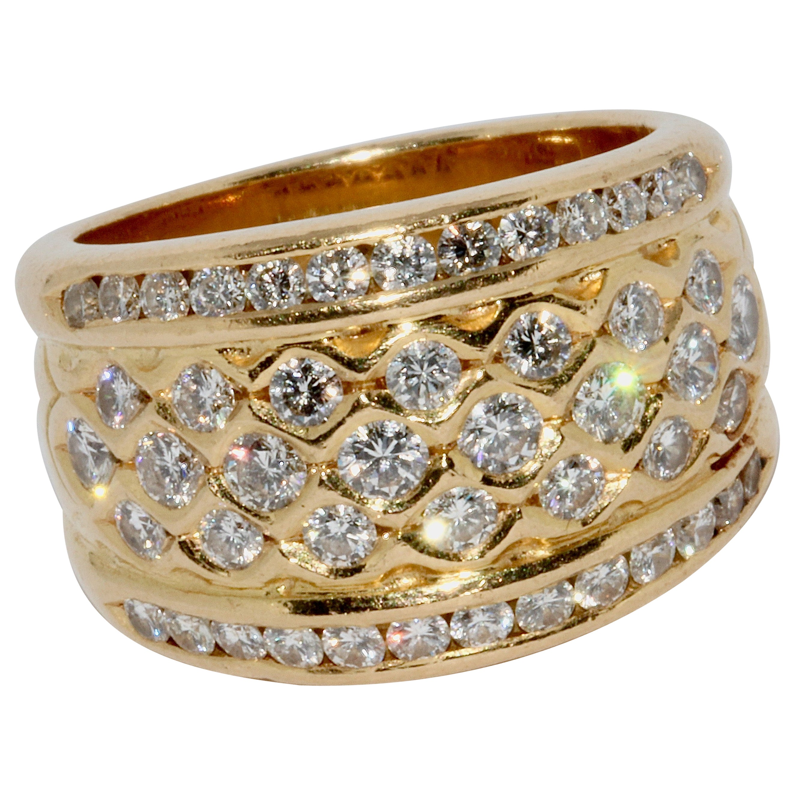 Ladies Dome Ring, 18 Karat Solid Gold with White Diamonds
