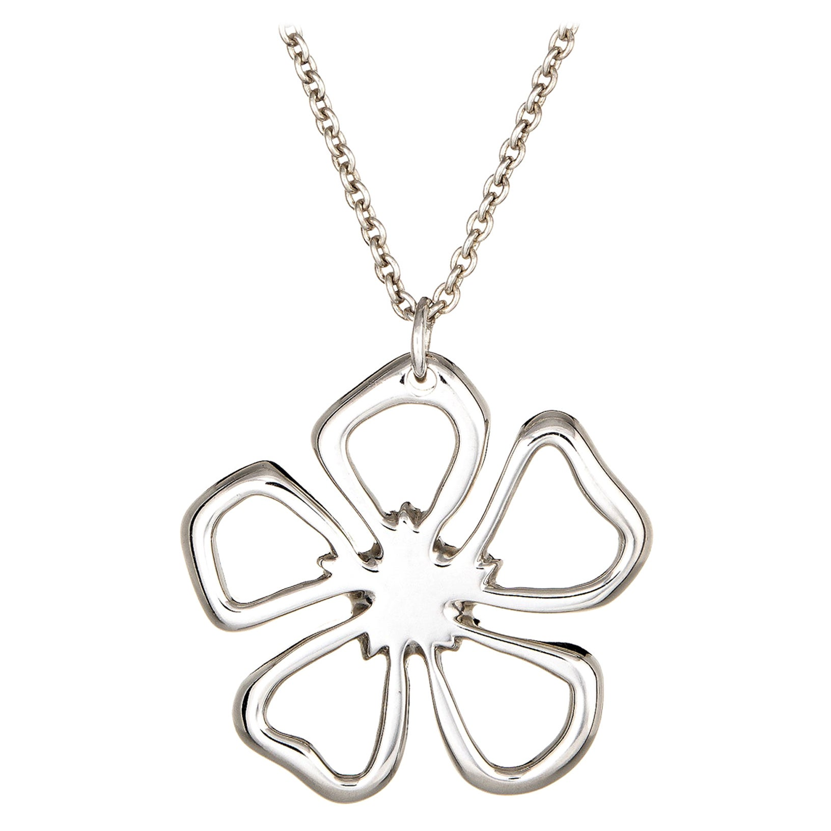 Tiffany & Co. Flower Necklace Sterling Silver Estate Fine Jewelry Signed