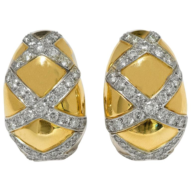 3.75 CTW Diamonds 18 Kt White/Yellow Gold Domed Ear Clips