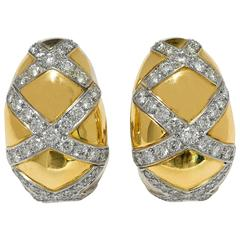 3.75 CTW Diamonds 18K White/Yellow Gold Domed Ear Clips