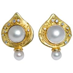 Elizabeth Gage Shiraz Pearl Gold Earrings