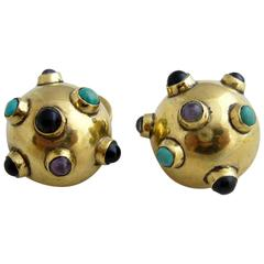 Hubert Harmon Brass and Natural Gemstones Cufflinks