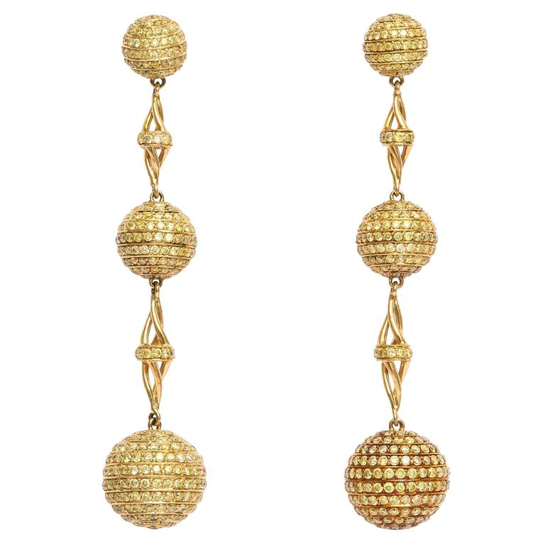 Out Of This World Yellow Diamond Dangling Earrings For
