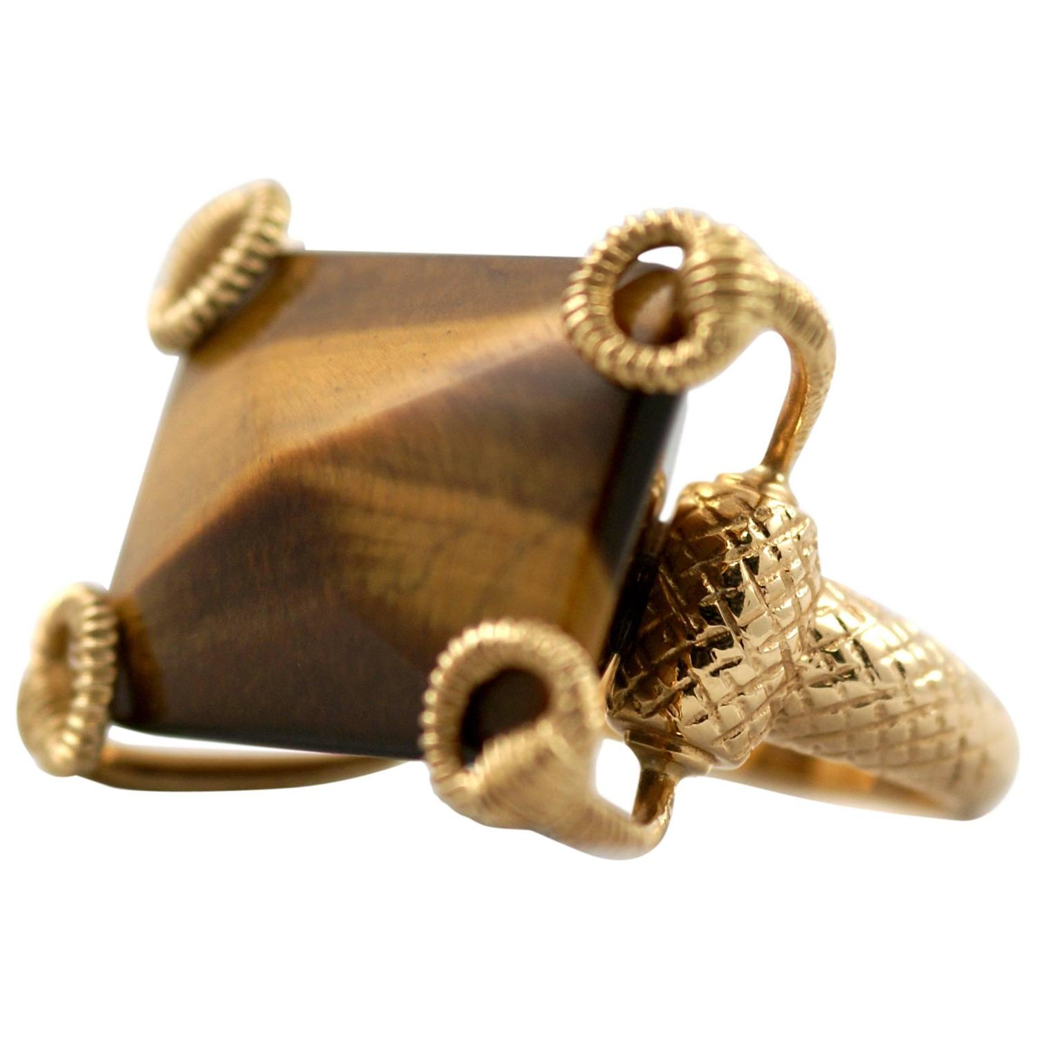 gucci tiger s eye gold buckle ring for sale at 1stdibs