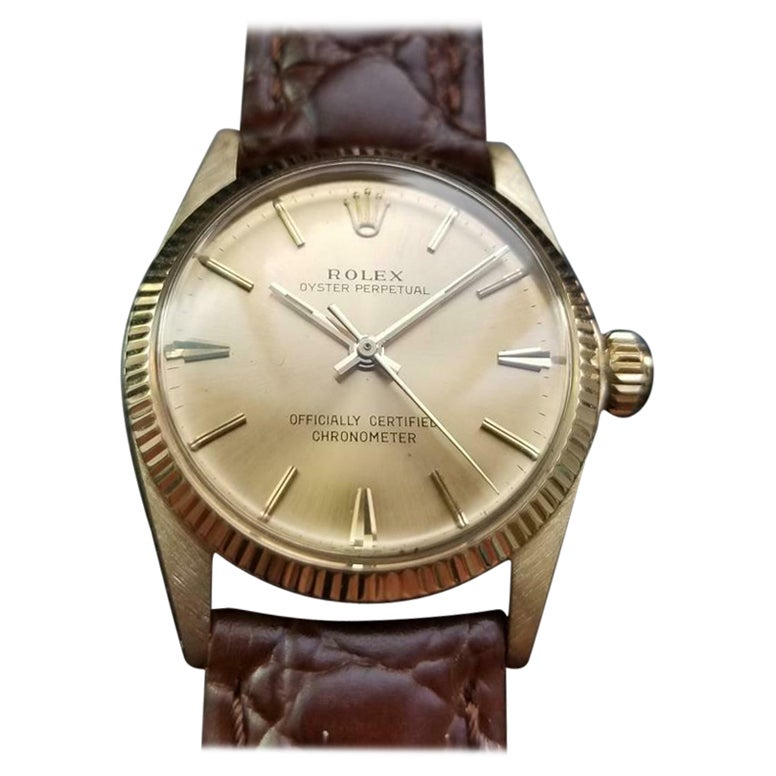 Rolex 14K Solid Gold Midsize Oyster Perpetual ref.6551 Automatic c.1966 MS137BRN