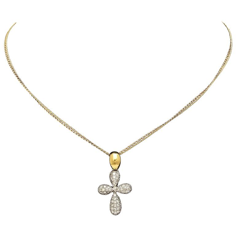 Diamond Gold Cross Pendant on Chain 1