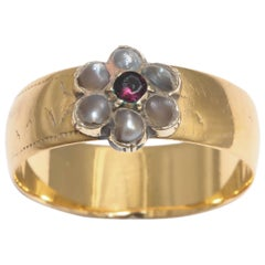 English 19th Century Pearl Gold Daisy Ring, 19th century