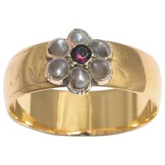 English 19th century Pearl Gold Cluster Ring