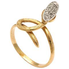 Antique 19th Century Diamond Gold Snake Ring