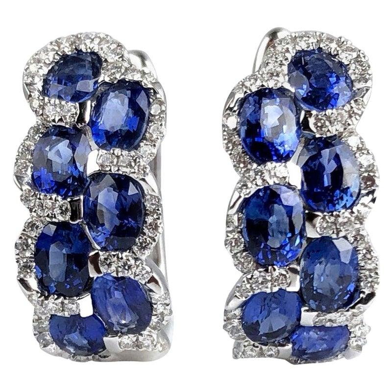 DiamondTown 2.88 Carat Oval Cut Sapphire Lever-Back Earrings in Diamond Halo