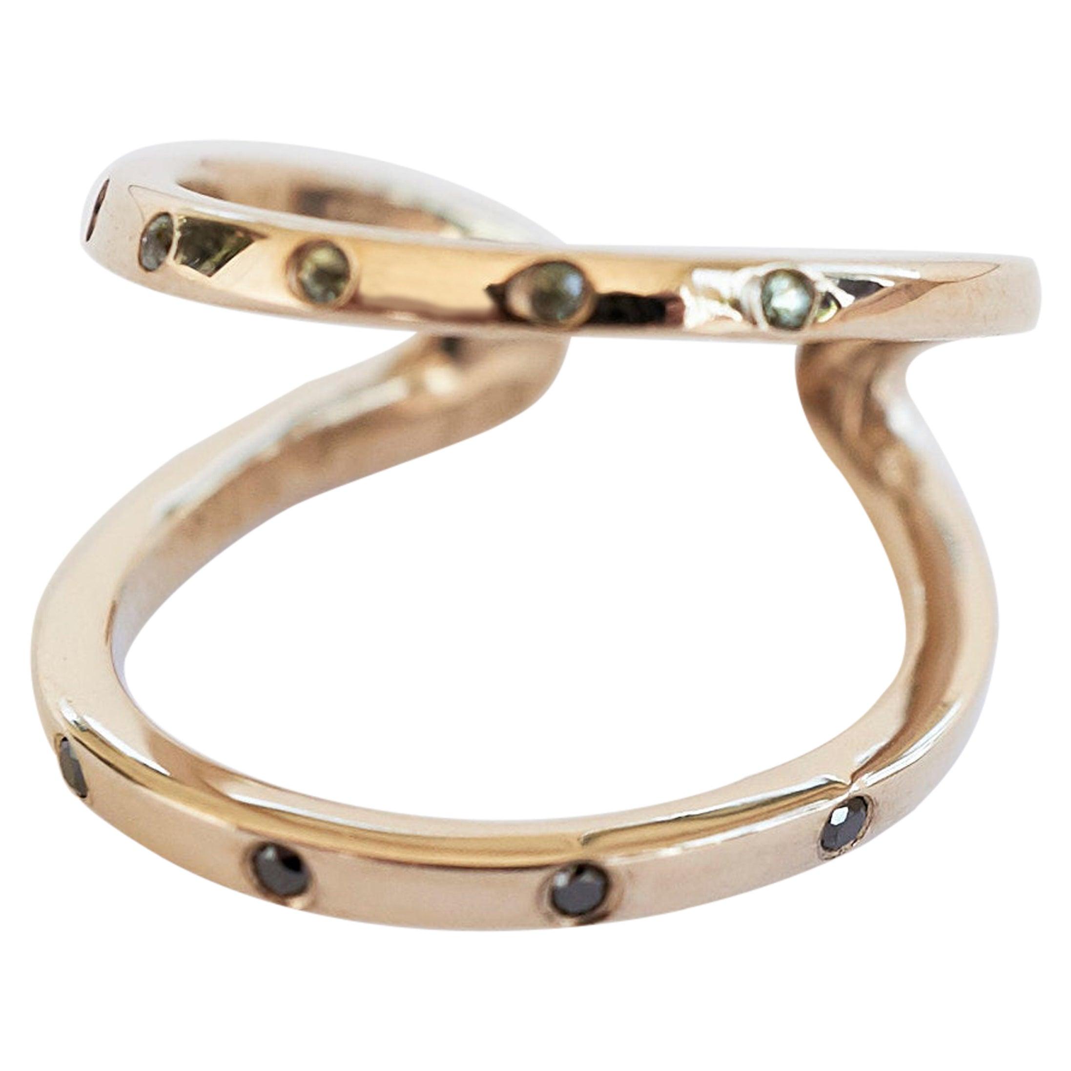 Black Diamond Green Sapphire Gold Ring Cocktail Ring Onesie J Dauphin