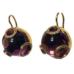 Amethyst Diamond Gold Earrings