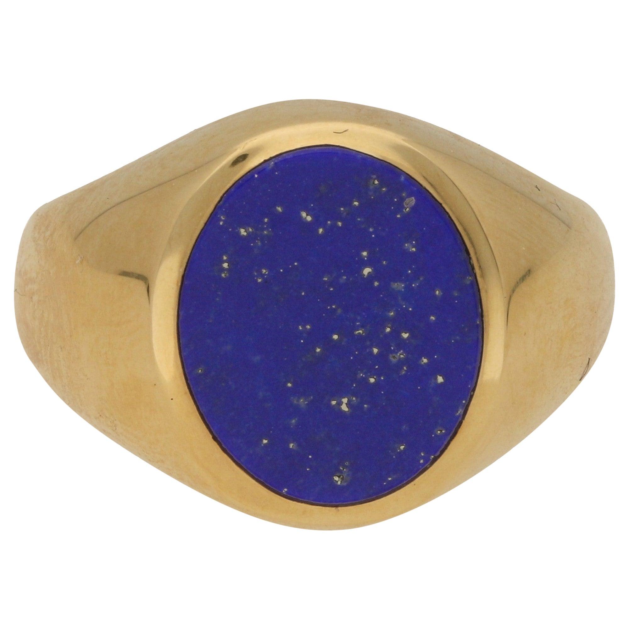 Royal Blue Lapis Lazuli Stone Signet Ring Set in 18 Karat Yellow Gold