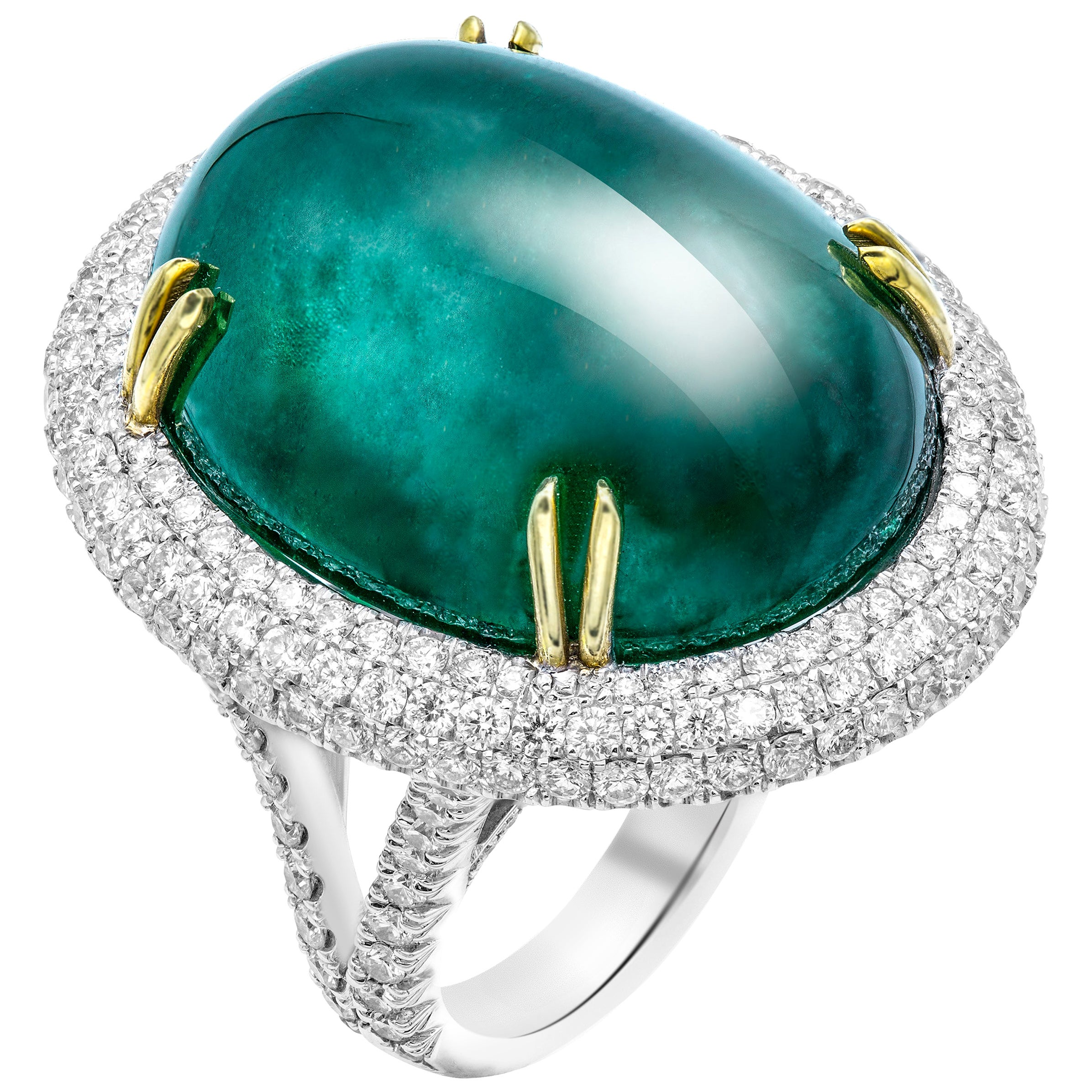 GIA Certified 50.6 Carat Oval Emerald Cabochon Diamond Cocktail Ring