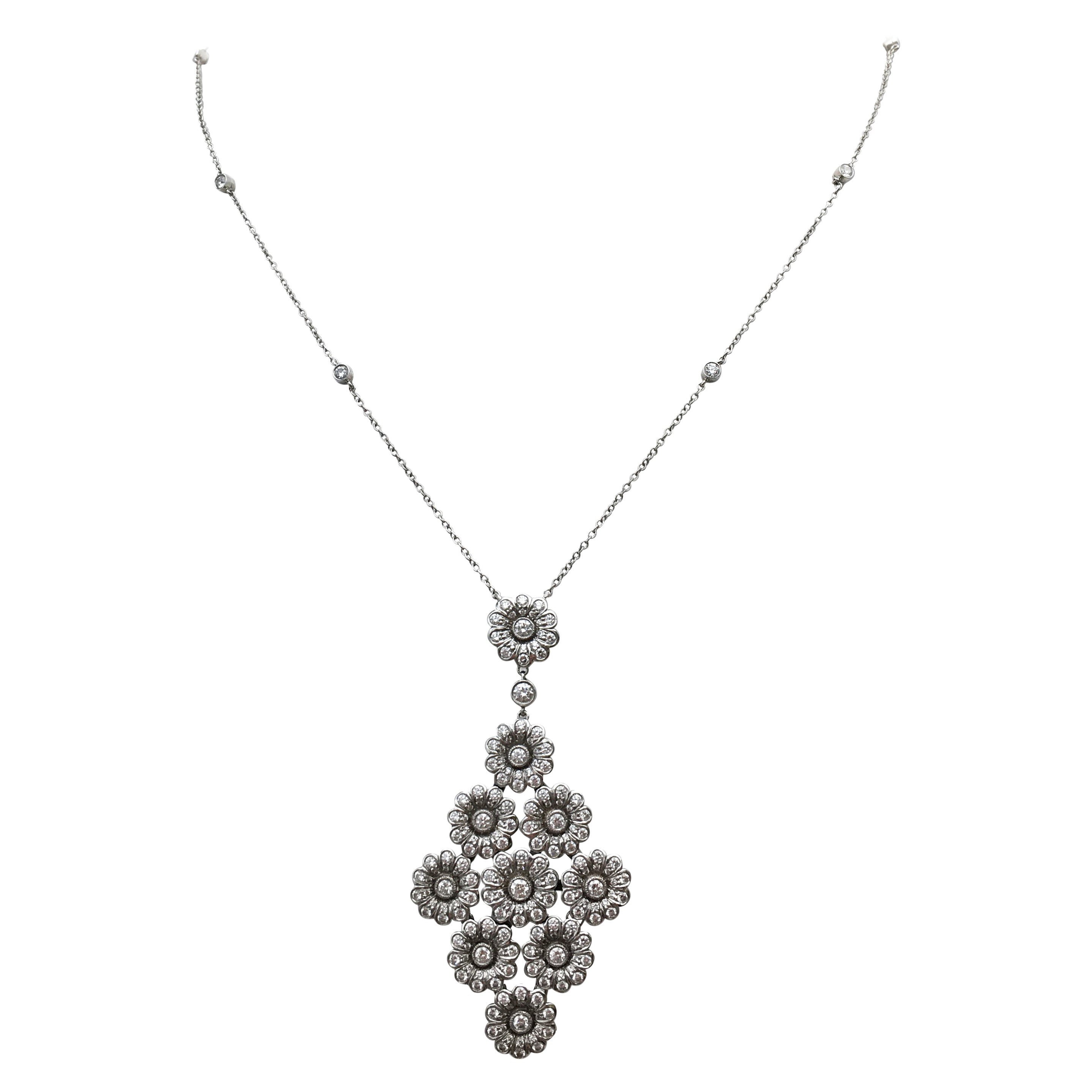 Tiffany & Co. Platinum and Diamond 'Rose' Drop Pendant Necklace