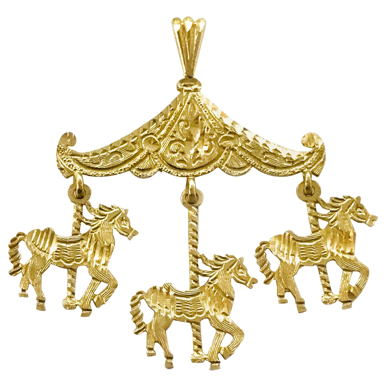14 Karat Diamond Cut Carousel Pendant
