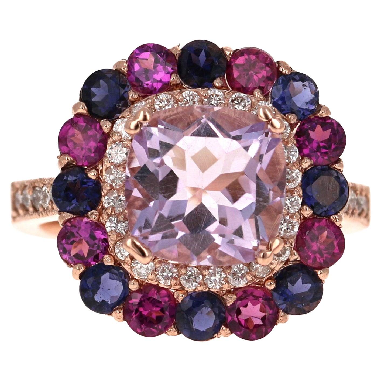 5.40 Carat Cushion Cut Amethyst Garnet Diamond 14 Karat Rose Gold Cocktail Ring