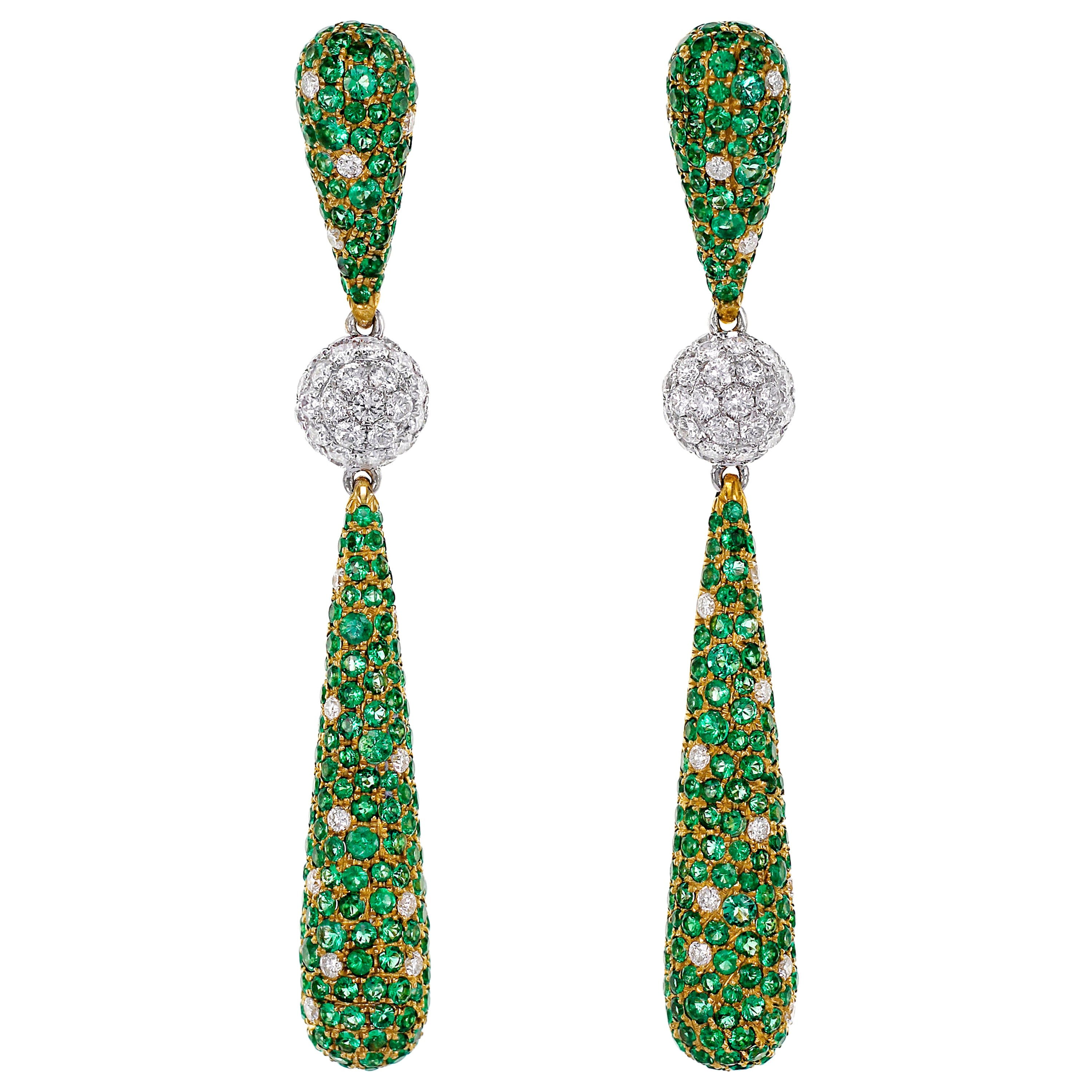 4.13 Carat Emerald and Diamond Dangle Cocktail Earring
