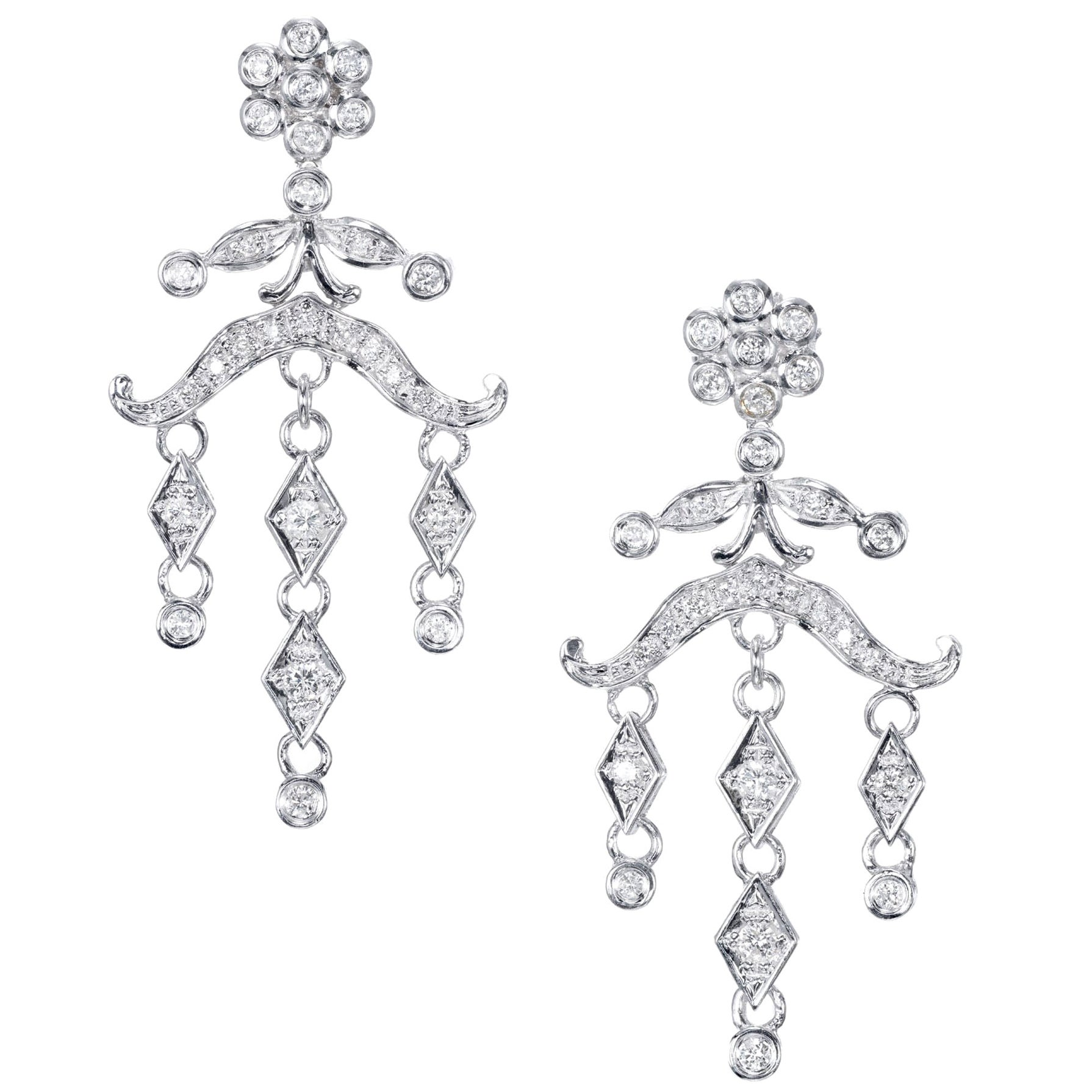 .60 Carat Diamond Chandelier Dangle Drop Earrings
