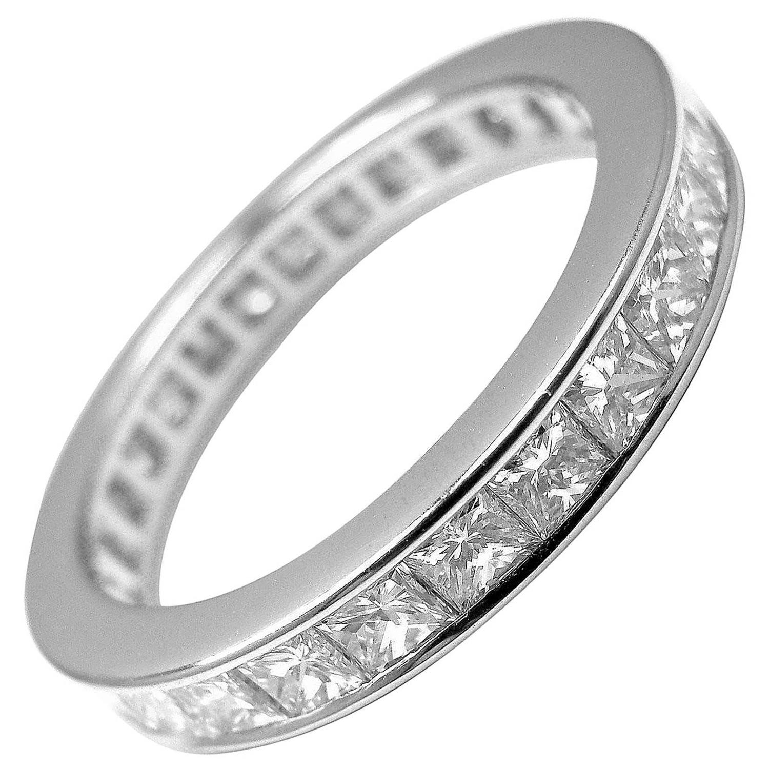 eternity ring diamond princess band cut platinum bands carat full