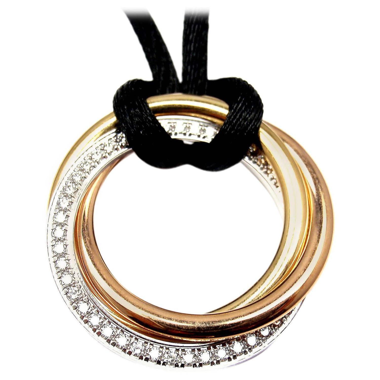 Cartier trinity diamond medium silk cord multi color gold pendant cartier trinity diamond medium silk cord multi color gold pendant necklace at 1stdibs aloadofball Gallery
