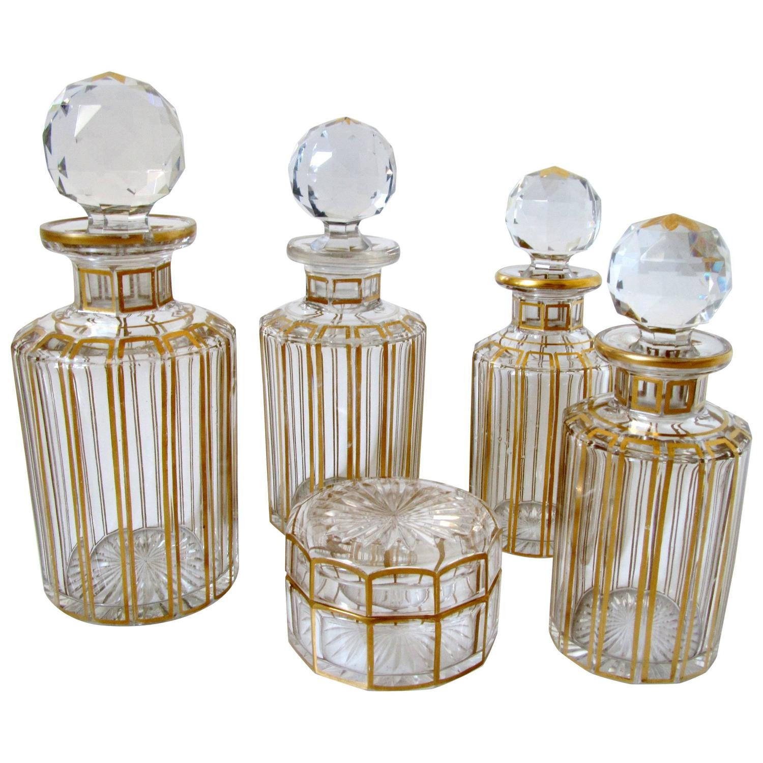antique french baccarat gold enamel crystal dresser vanity perfume set 5 pc at 1stdibs - Enamel Picture Frames